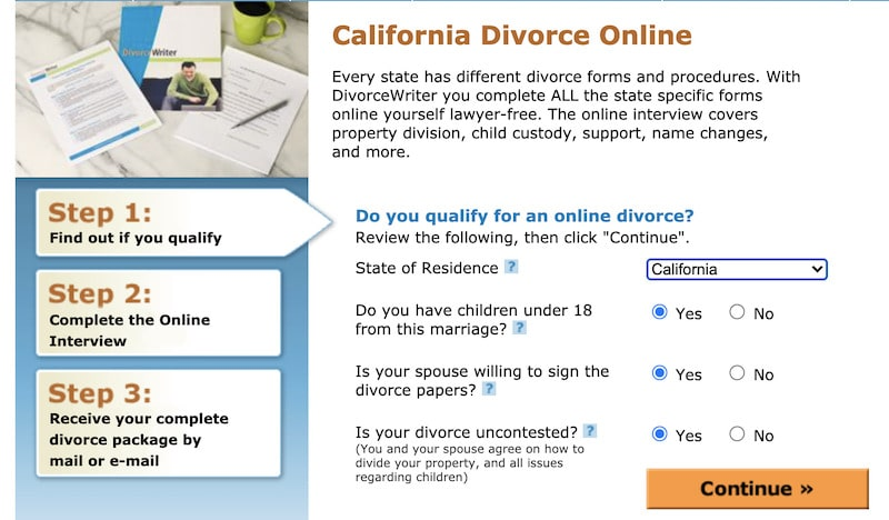 picture of step 1 of divorce writer website