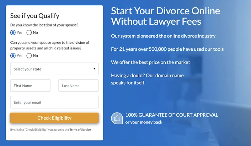 picture of step 1 on onlinedivorce.com